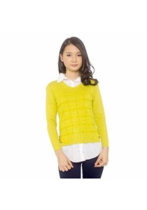 Ladies Room Shirt Collar Long Sleeve Knit Blouse - Yellow