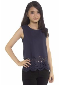 Ladies Room Laser Cut Hem Blouse - Navy Blue
