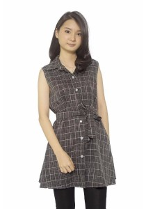 Ladies Room Shirt Collar Belted Checkered Long Blouse - Grey