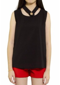 Ladies Room Chiffon Blouse with Choker Neckline - Black