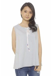Ladies Room Cotton Flare Top - Light Blue