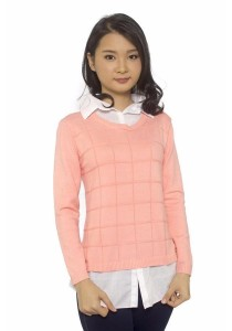 Ladies Room Shirt Collar Long Sleeve Knit Blouse - Light Coral