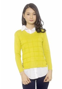 Ladies Room Shirt Collar Long Sleeve Knit Blouse - Mustard