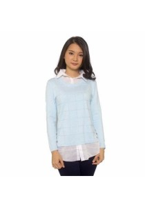 Ladies Room Shirt Collar Long Sleeve Knit Blouse - Sky Blue