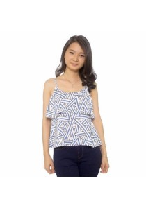 Ladies Room Printed Geometric Flare Top - Blue