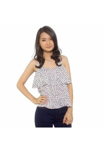 Ladies Room Printed Geometric Flare Top - Grey