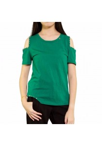 Ladies Room Casual Studded Cold Shoulder Blouse - Green
