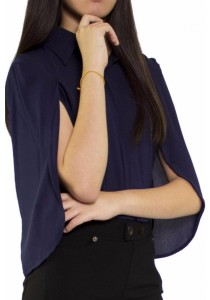 Ladies Room Overcoat Collar Blouse - Navy Blue