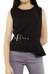 Ladies Room Sleeveless Peplum Top with Accessories - Black