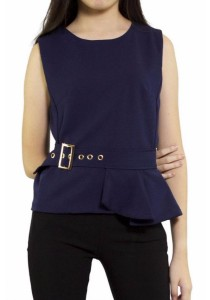 Ladies Room Sleeveless Peplum Top with Accessories - Navy Blue
