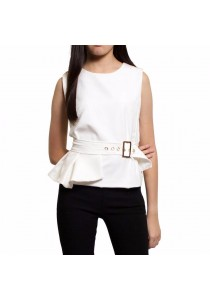Ladies Room Sleeveless Peplum Top with Accessories - White