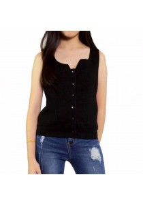 Ladies Room Sleeveless Denim Button Down Casual Top - Black