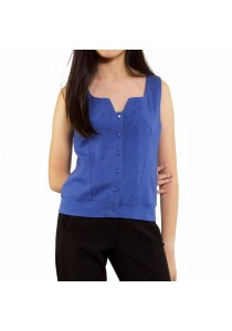 Ladies Room Sleeveless Denim Button Down Casual Top - Light Blue
