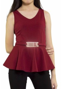 Ladies Room Sleeveless Peplum Top - Maroon