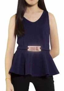 Ladies Room Sleeveless Peplum Top - Navy Blue