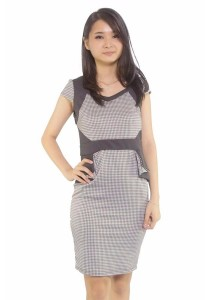 Ladies Room Short Sleeve Houndstooth Peplum Fitted Dress - Grey