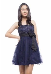 Ladies Room Strapless Lace Dress - Black