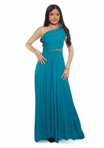 Ladies Room Off Shoulder Sleeve Dinner Dress - Turquoise