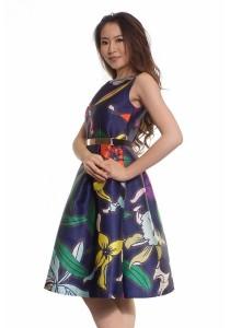 Ladies Room Sleeveless Printed Multicoloured Blue Midi Flare Dress