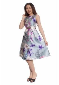 Ladies Room Sleeveless Printed Floral Blue Midi Flare Dress