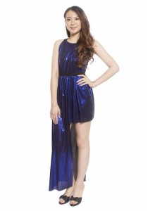 Ladies Room Metallic Asymmetrical Dress - Blue