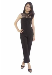 Ladies Room Halter Lace Long Jumpsuit - Black