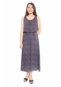 Ladies Room Printed Casual Chiffon Maxi Dress - Vertical Line