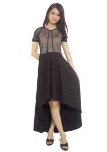 Ladies Room High Low Short Sleeve Netting Dress - Black - XS
