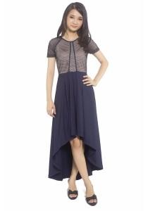 Ladies Room High Low Short Sleeve Netting Dress - Blue