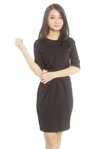 Ladies Room Half Sleeve Fitted Dress - Black
