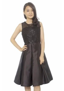 Ladies Room Sequined Pleated Midi Part Dress - Brown
