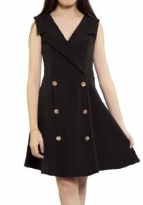 Ladies Room V-Neck Collared Flare Dress - Black