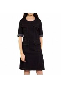 Ladies Room Short Sleeve Denim Formal Fitted Dress - Black