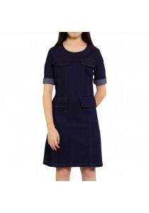 Ladies Room Short Sleeve Denim Formal Fitted Dress - Blue XL