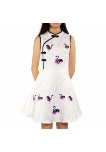 Ladies Room Sleeveless Printed Swan Cheongsam - Purple M