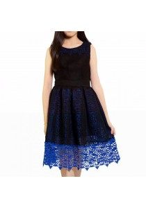 Ladies Room Innter Lace and Netting Flared Midi Dress - Blue