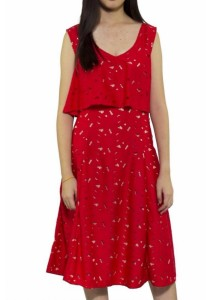 Ladies Room Layered Lace Midi Dress - Red