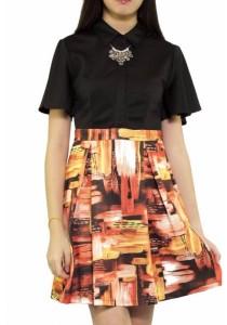 Ladies Room Bell Sleeve Collar Dress - Orange