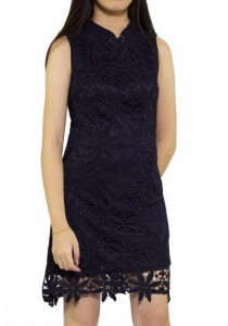 Ladies Room Fitted Cheongsam - Navy Blue