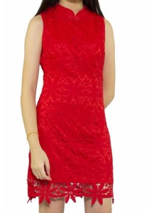 Ladies Room Fitted Cheongsam - Red