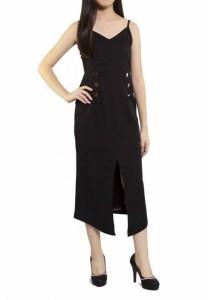 Ladies Room Spaghetti Strap Fitted Midi Dress - Black S