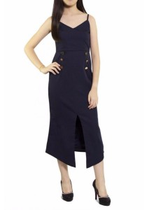 Ladies Room Spaghetti Strap Fitted Midi Dress - Navy Blue