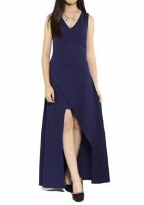 Ladies Room V-Neck Long Dress - Navy Blue