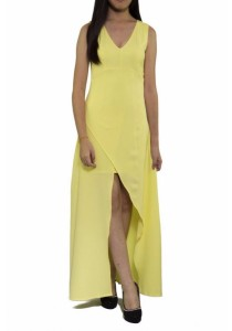 Ladies Room Sleeveless V-Neck Long Short Party Dinner Dress - Yellow