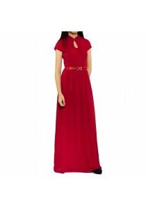 Ladies Room Short Sleeve Mandarin Collar Long Dress - Red