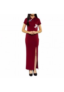Ladies Room Flower Embroidered Collar High Slit Long Dress - Maroon