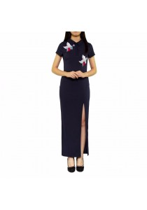 Ladies Room Flower Embroidered Collar High Slit Long Dress - Navy Blue