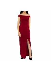 Ladies Room Off Shoulder Fitted Long Maxi Dinner Party Dress - Maroon