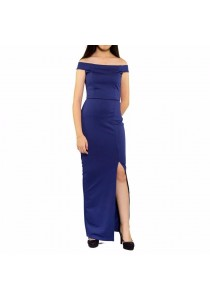 Ladies Room Off Shoulder Fitted Long Dinner Party Dress - Blue