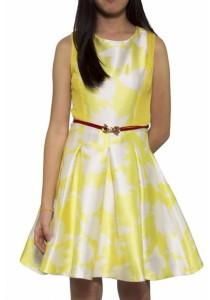 Ladies Room Flower Printed Skater Dress - Yellow